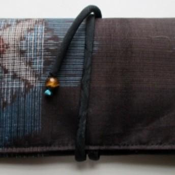 4540 夏大島紬で作った和風財布・ポーチ #送料無料