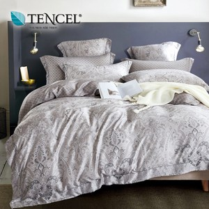 【貝兒居家寢飾生活館】100%天絲全鋪棉床包兩用被四件組(加大雙人/無聲的詩)