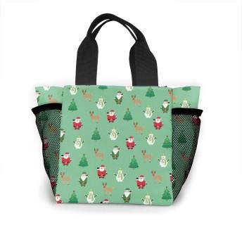 サンタスノーマン鹿 トートバッグ 買い物バッグ レディース おしゃれ バッグ ハンドバッグ エコバッグ 人気 ランチバッグ