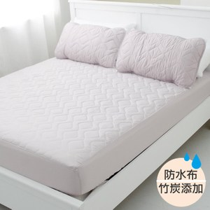 【eyah】台灣嚴選竹炭超防水舖棉QQ保潔墊-床包式雙人(含枕墊*2)