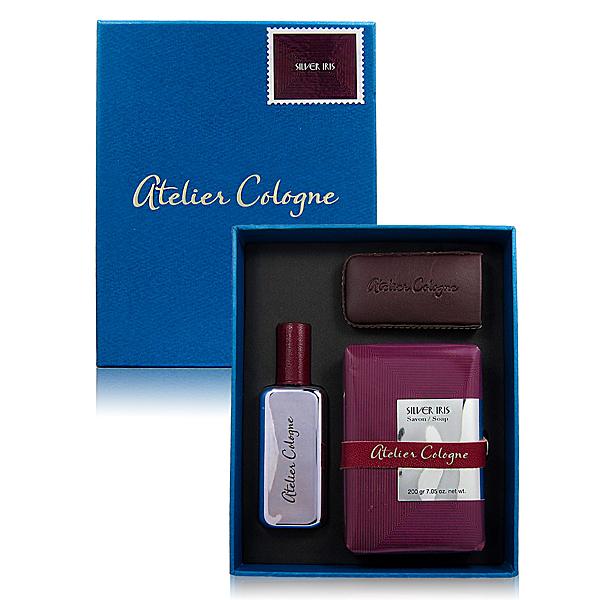 Atelier Cologne 歐瓏 Silver Iris純銀之韻-銀色鳶尾香水禮盒(30ml含皮套+鳶尾 香氛皂200g) [QEM-girl]