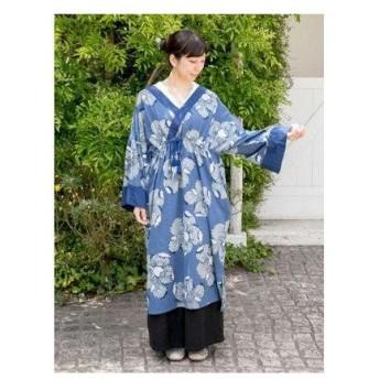 【カヤ】藍色ならいワンピース ブルー