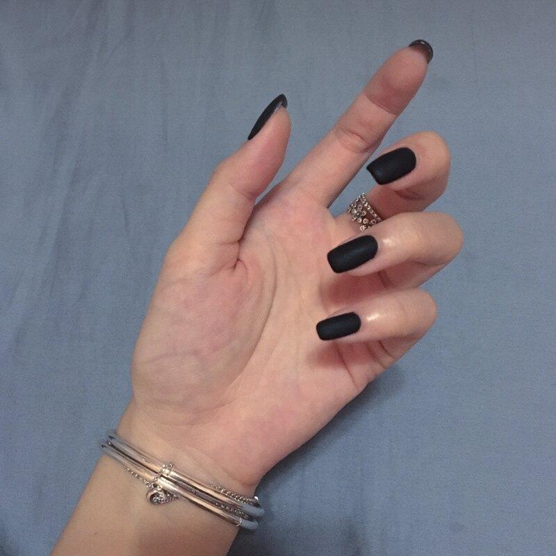 現貨~ NC454 【服帖薄長款】穿戴美甲ins黑色磨砂暗黑風朋克假指甲片