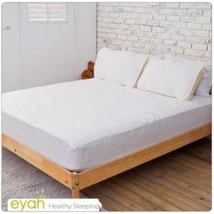 【eyah】台灣製純色加厚舖棉保潔墊床包式雙人(含枕墊*2)-純潔白