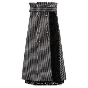 リリーブラウン Lily Brown 異素材切り替えスカート (ブラック)