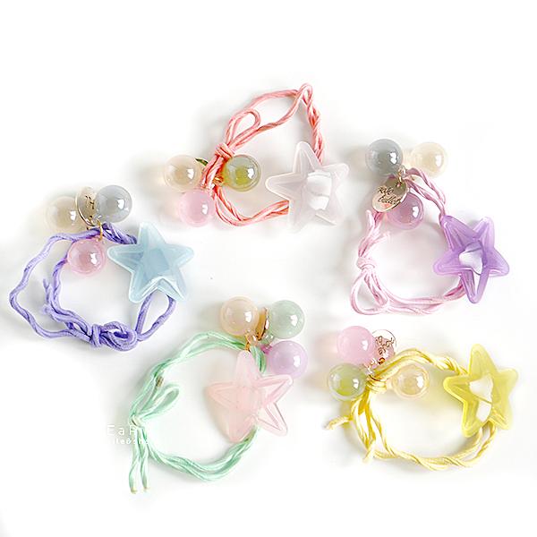 透明糖果色星星造型髮圈 不挑色 兒童髮飾 綁髮圈