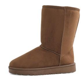 [Dazzling.S] 雪靴 ムートンブーツ レディース スノーブーツ ハイカット ブーツ ワタ靴 ファー 防寒性 裏ボア フラットヒール 無地 ブラック ブラウン キャメル 歩きやすい 防水 滑り止め ふわふわ 極厚 ふかふか 保温性 23.5cm