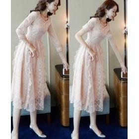 ロングドレス 演奏会 パーティードレス 結婚式 マキシ丈 ワンピース ドレス  花柄 フリル 透け感 大人可愛い