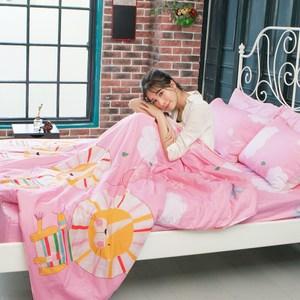 【BELLE VIE】精梳棉加大床包兩用被四件組(花漾摩卡-粉)