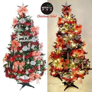 摩達客6尺一般型綠色聖誕樹銀雪花紅系配件+100燈LED燈暖白光1串(附控制器)