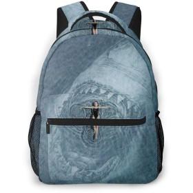 サメ 海 巨悪口 女 バックパック リュック 通学 遠足 旅行 多機能 大容量 収納 男女通用