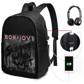 Bon Jovi リュックサック バックパック リュック 多機能 17インチ 大容量 通勤 通学 旅行 収納 アウトドア USBポート付き ビジネス カジュアル 黒 イヤホンポート メンズ レディース