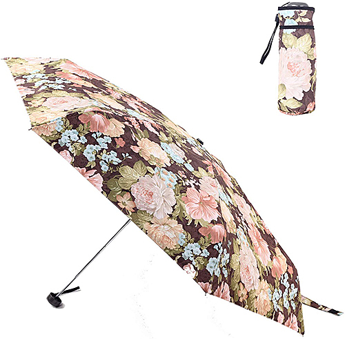 FJMOD 【日本代購】彩繪陽傘 折疊雨傘 防紫外線99% UPF50+ 迷你五段折疊-鈕扣花