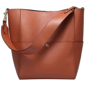 ハンドバッグ - 女性のレザー婦人用バッグバケットバッグレトロ婦人用バッグ斜めクロスショルダーバッグ、25センチメートル 31センチメートル 15.5センチメートル、ブラック/ブラウン/グリーン/ホワイト 斬新なスタイル (Color : Brown)