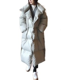 Romancly Women's Winter Coat Outdoor Hoodie Puffer Coat Parka Cotton Padded Coat Grey S