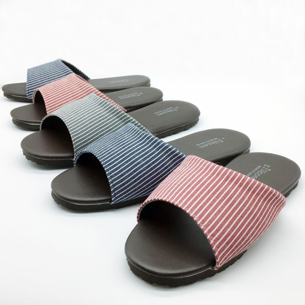 【iSlippers】品味系列-布面皮質室內拖鞋 /小日條紋 [台灣犀利趴] 多色任選4雙$420