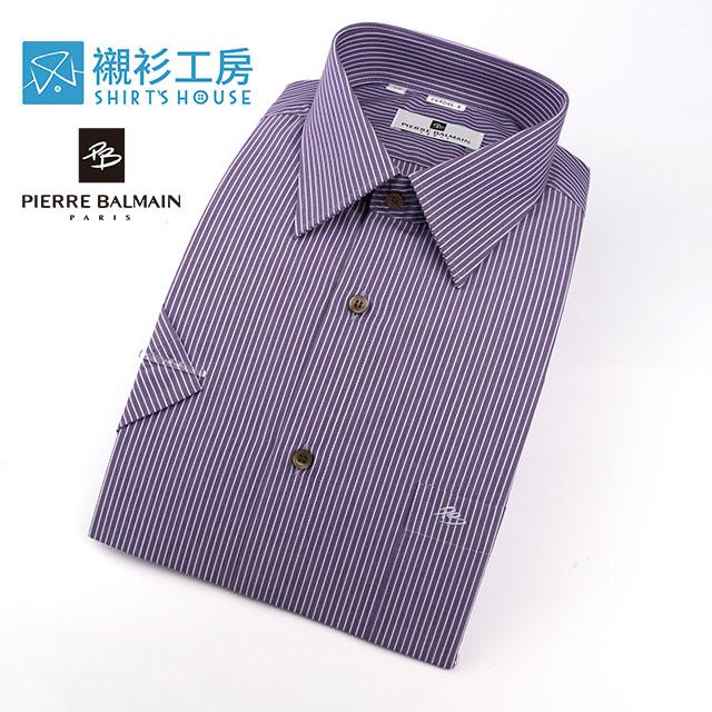 皮爾帕門pb紫底細條紋社會新鮮人短袖襯衫64046-08 -襯衫工房