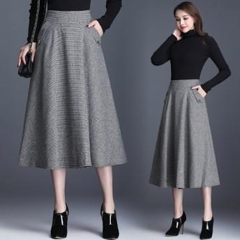暖かい チェックウールスカート ウエストゴムも入っていて楽ちん ウールスカート・チェックスカート