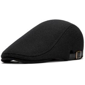 Sura Don ハンチング帽 メンズ 紳士 ベレー帽 ウール キャスケット 無地 サイズ調整可能 春 秋 冬 男女兼用 通勤 カジュアル ゴルフ 旅行 (ブラック)