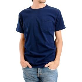 AQshop Tシャツ メンズ 無地 厚手 胸ポケット付き 5.3oz コットン 半袖 ラウンドネック (M, ネイビー)