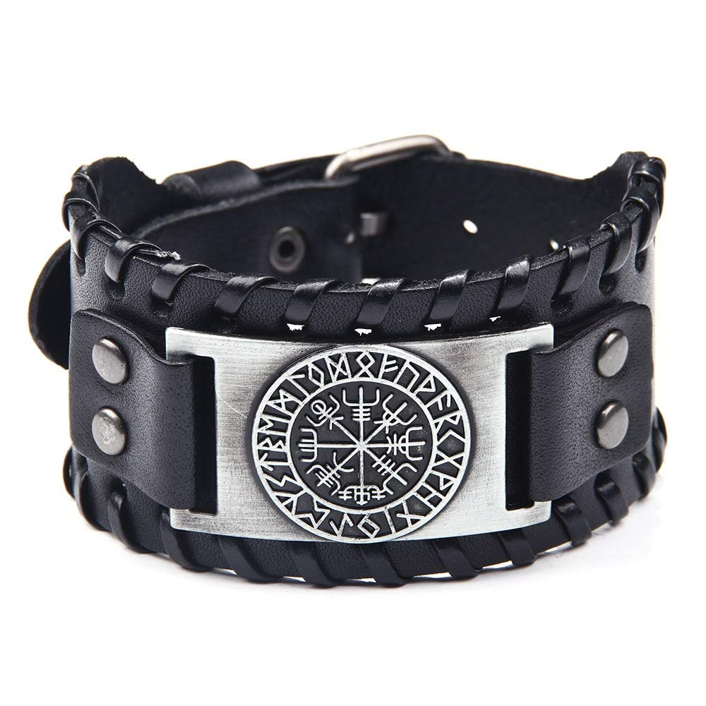 Lemegeton Slavic Kolovrat YGGDRASIL Tree of Life Wide Leather Bracelet for Men Amulet Punk Bangle