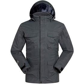 HSBAIS 防風レインジャケット、メンズスキーウェアマルチポケット付きカジュアルジャケット アウトドア 山 スポーツ フード付き ウインドブレーカー,Gray_X-Large