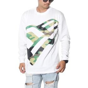 [ニューエラ] Tシャツ メンズ 長袖 ロンT ズームアップ フラッグロゴ 迷彩 ホワイト 白 12108223 XL