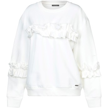 《セール開催中》CRISTINAEFFE レディース スウェットシャツ ホワイト S コットン 95% / ポリウレタン 5%