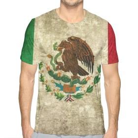 メキシコの旗ファッションメンズラウンドネックデザイン半袖スリムフィットカジュアルTシャツXL