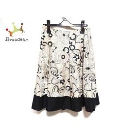 エムズグレイシー M'S GRACY スカート サイズ40 M レディース 美品 ベージュ×白×黒 花柄 新着 20191123