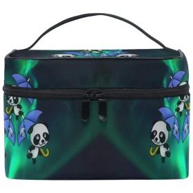 グリーンスペースパンダ化粧品袋オーガナイザージッパー化粧バッグポーチトイレタリーケースガールレディース
