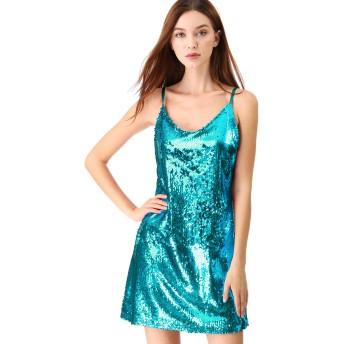 Allegra K ミニドレス ワンピース スパンコール パーティー クラブウェア ダンス 衣装 レディース ブルー M