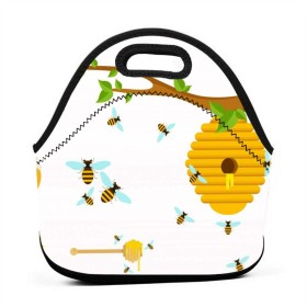 漫画フラットミツバチランチバッグ、厚手の断熱ランチボックスバッグ、子供旅行ピクニックオフィスのジッパー閉鎖付きトートボックス