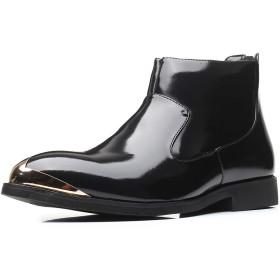 [WEWIN] ブーツ エンジニアブーツ メンズ 大きいサイズ 革靴 冬用 ジッパー ローカット マーティンブーツ 紳士靴 ビジネス カジュアル バイク用 防滑 履きやすい ファッション イングランド風