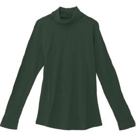 (パークガール)PARK GIRL ワイドリブ素材襟メロウ加工無地タートルネック長袖カットソー レディース 大きいサイズ M/L 5719600000 (M, ディープグリーン)