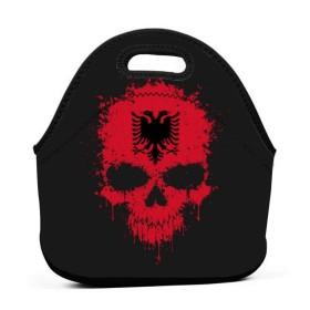 混耳のとしたアルバニア国旗スプラッタスカルランチバッグ、厚手の断熱ランチボックスバッグ、子供旅行ピクニックオフィス用ジッパー閉鎖トートボックス
