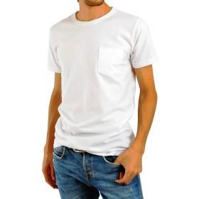 AQshop Tシャツ メンズ 無地 厚手 胸ポケット付き 5.3oz コットン 半袖 ラウンドネック (M, ホワイト)