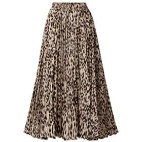 スカート 冬 ロングスカート 秋冬 スカート レディース skirt ペンシルスカート GINNTOKI ファッション女性シフォンルーズヒョウプリントイブニングパーティーレイヤードプリーツスカート
