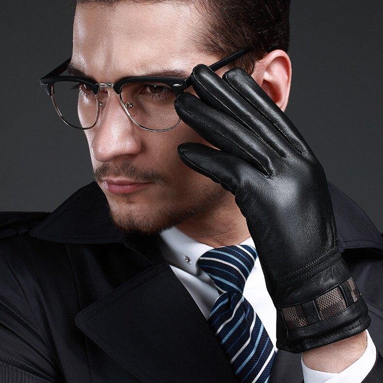 真皮手套保暖手套-羊皮內裡加絨黑色男手套73wm23【獨家進口】【米蘭精品】