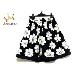 ギャラリービスコンティ スカート サイズ2 M レディース 美品 黒×白×グレー 花柄 新着 20191122