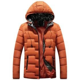 [L.Z.L] ダウンジャケット メンズ ショート丈 ビジネスコート フード付きコート 冬服 防寒 中綿ダウン 中綿コート メンズ ダウンコート 暖かい アウターダウン アウトドアや通勤で活躍 秋冬春 全て8色 (オレンジ, XXL)