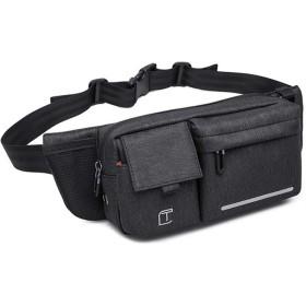 カジュアルポケット カジュアルな斜めのショルダーバッグの男性と女性の屋外多機能なファッション財布、男性と女性の小さなバックパックを遊ばします (Color : Black)