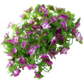 joyMerit 2x人工シルク水仙の花つるハンギングガーランドホームパーティーの装飾8色 - 紫