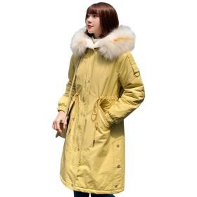 Acyoung コート レディース 裏ボア 中綿コート アウター ロング 腰紐 秋冬ファッション カジュアル ゆったり 暖かい 可愛い シンプル ふんわり ファーフード付き 防寒着
