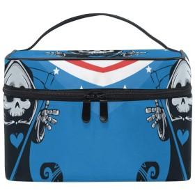 ゴーストスカルフラグ化粧品袋オーガナイザージッパー化粧バッグポーチトイレタリーケースガールレディース