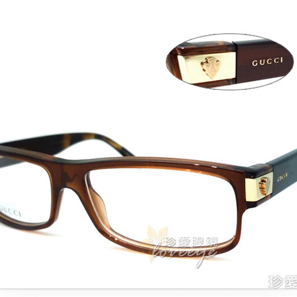 【珍愛眼鏡館】GUCCI 古馳 時尚光學鏡框 舒適彈簧設計 GG1608 咖啡 # 1608