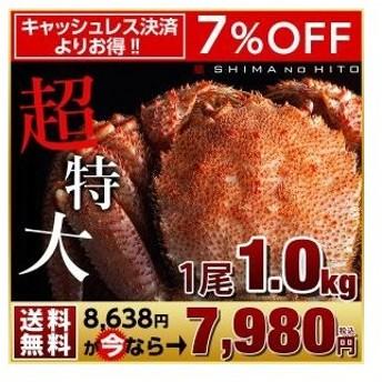 毛蟹 毛ガニ 特大 カニ 毛がに かに 蟹 1.0kg 1尾 ロシア産 海鮮 送料無料 北海道