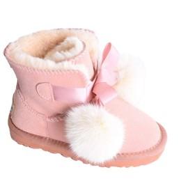 [JKTOWN] キッズ 女の子 ムートンブーツ ショート ブーツ ファー シューズ 子供用 もこもこ ショートブーツ ベビー 暖かい 防寒シューズ 靴 履きやすい あったか 保温 可愛い 4色 XX1402 (20.5cm, ピンク)