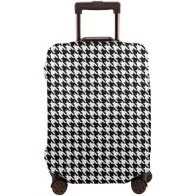 ラゲッジカバー スーツケースカバー 白い 千鳥 チェック 抽象 トランクカバー ラゲッジカバー キャリーバッグ お荷物カバー 保護 目立つ ファスナー付き 海外旅行 便利 防塵 防水 おしゃれ 伸縮素材 S-XL