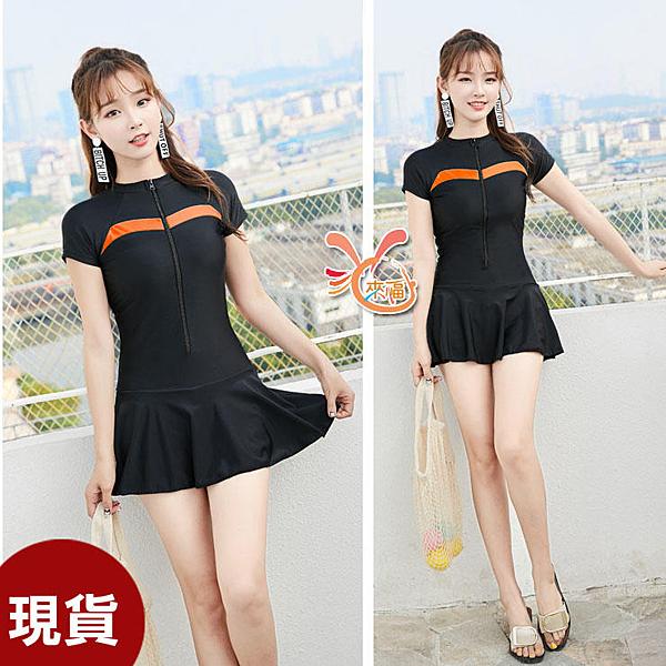 依芝鎂-G368短袖文條小裙連身泳衣游泳衣泳裝M-4XL正品,售價980元